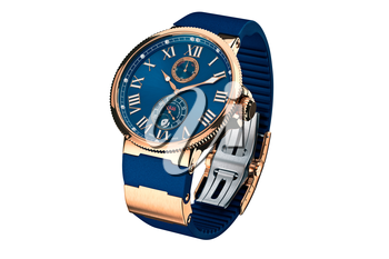 Wrist watch modern gold strap. 3D graphic
