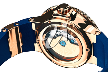 Wrist watch classic gold filling, close view. 3D graphic