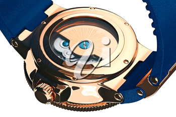 Wrist watch mechanical gold accessory filling, close view. 3D graphic