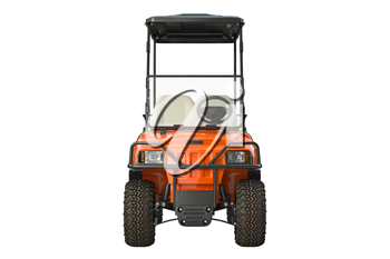 Golf car electric, front view. 3D graphic