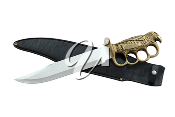 Knife with sheath ornate, top view. 3D graphic