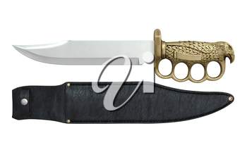 Knife steel blade golden handle, side view. 3D graphic