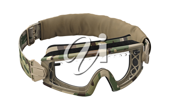 Military goggles eyeglass protection for soldiers. 3D graphic