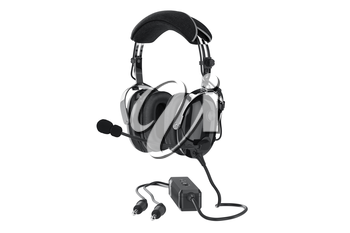 Headphones black glossy aviation digital. 3D graphic