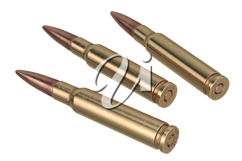 Bullet rifle projectile of shiny copper and brass. 3D graphic