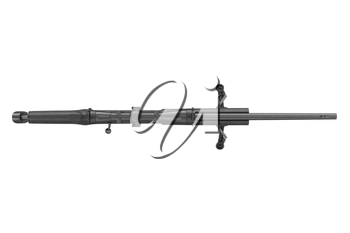 Rifle sniper weapon metal equipment, top view. 3D graphic