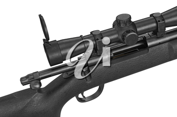 Rifle sniper modern military equipment, close view. 3D graphic