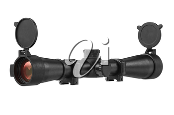 Scope optical rifle for sniper shooting. 3D rendering