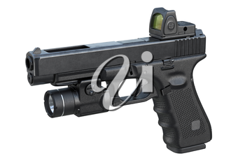 Gun weapon steel military equipment. 3D rendering