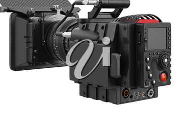Camera video optical professional device, close view. 3D rendering