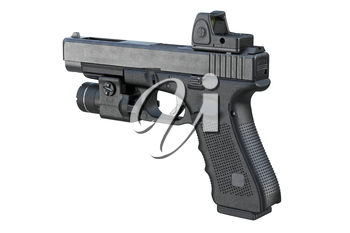 Gun weapon equipment with modern shooting device. 3D rendering
