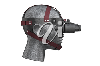 Night vision military battle equipment, side view. 3D rendering