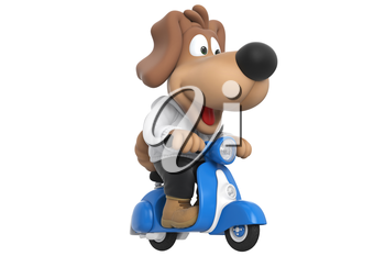 Cartoon dog cute friendly puppy character on motorcycle, with large hanging ears. 3D rendering