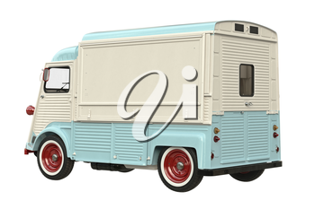 Food beige car eatery on wheels. 3D rendering