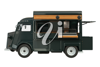 Food truck green eatery with open doors, side view. 3D rendering