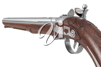 Pistol gun retro flintlock army protection, close view. 3D rendering