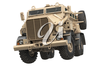 Truck military beige armored army transport. 3D rendering