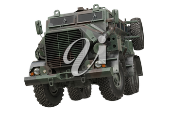 Truck military camouflaged armored army transport. 3D rendering