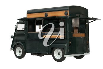 Food truck eatery on wheels retro style. 3D rendering