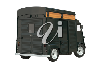 Food truck eatery cafe green. 3D rendering