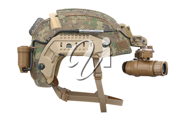 Helmet vision military device, side view. 3D rendering