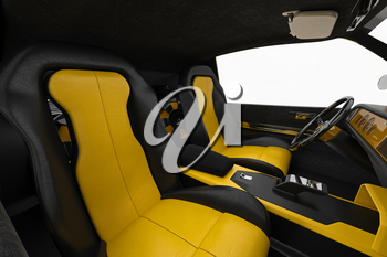 Car interior inside leather seat. 3D rendering