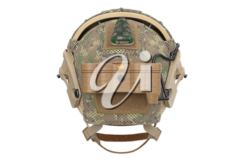Helmet special military protection, back view. 3D rendering