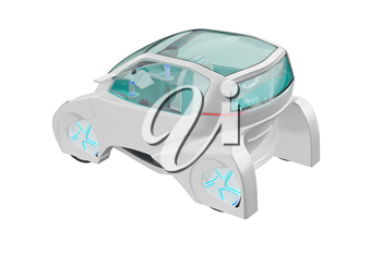 Car futuristic transportation neon wheel. 3D rendering