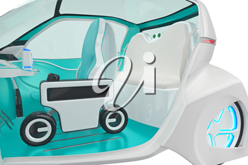 Car future futuristic electric innovation interior, close view. 3D rendering