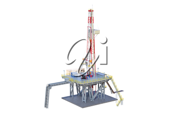 Land rig drilling well power equipment. 3D rendering