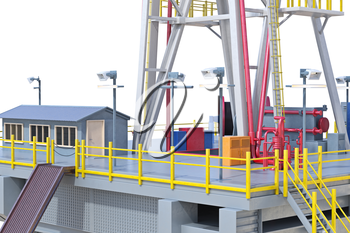 Rig metal platform machinery oil production, close view. 3D rendering