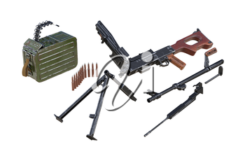Gun machine army disassembled view. 3D rendering