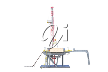 Land rig production oil industry, side view. 3D rendering