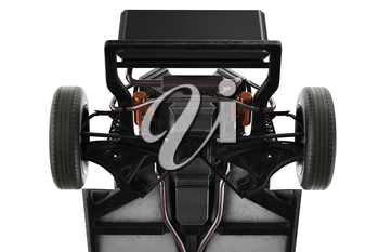Chassis frame car with wheel, close view. 3D rendering
