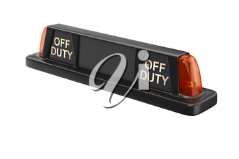 Taxi sign cab black with orange backlight. 3D rendering