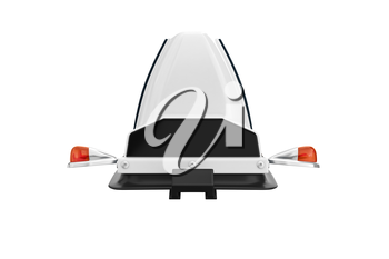 Taxi sign cab with orange bulbs, front view. 3D rendering