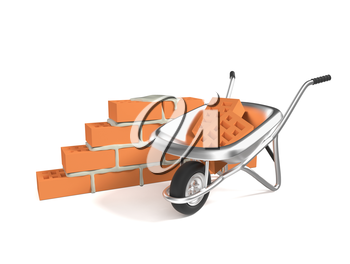 Stack of red bricks and a hand cart isolated on white background