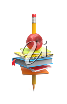 School notebooks and an apple on the pencil isolated on white background