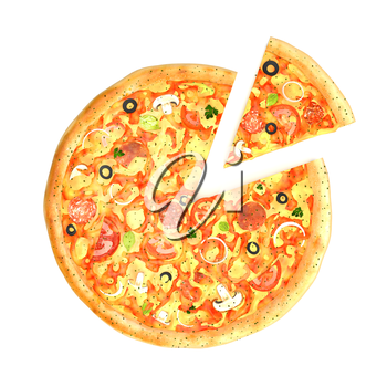 Tasty pizza with one piece cut isolated on white background