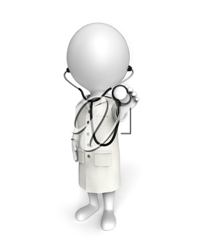 3D little white person stands as a doctor examining you