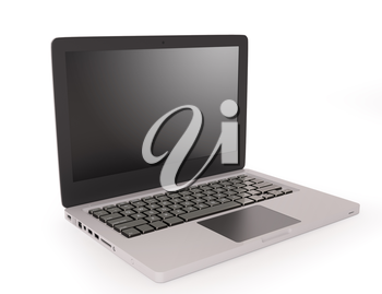Modern laptop isolated over white background