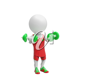 Little white sportsman with dumbbells on white background