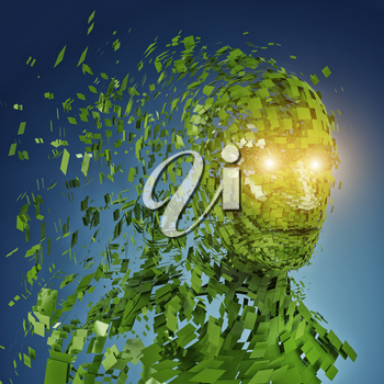 Human head silhouette with  a lot of green pieces and twinkled eyes