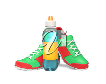 Bottle of water stands near running shoes isolated on white