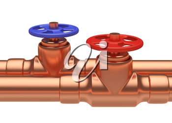 Plumbing pipeline with hot water and cold water pipes water supply system industrial construction: blue valve and red valve on two copper pipes closeup isolated on white background, industrial 3D illu