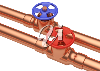 Plumbing pipeline with hot water and cold water pipes water supply system industrial construction: blue valve and red valve on two copper pipes isolated on white background, diagonal view, industrial