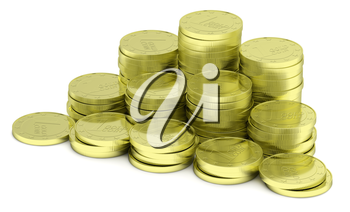 Business finance, financial success and wealth abstract creative concept: stack of gold goins towers arranged in golden pyramid with small shadows isolated on white background, diagonal.