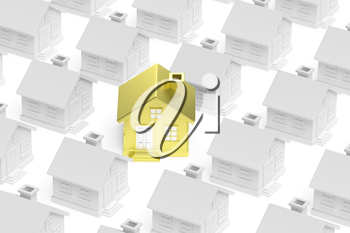 Uniqueness, individuality, real estate business creative concept - golden unique house stand out from crowd of gray ordinary houses, 3d illustration