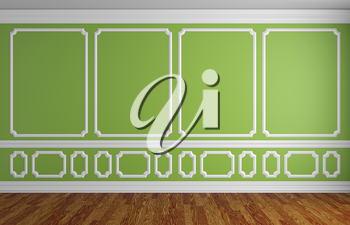 Simple classic style interior illustration - green wall with white decorative elements on the wall in classic style empty room with wooden parquet floor with white baseboard, 3d illustration interior