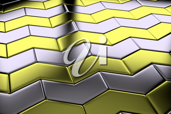 Metal with gold blocks in shape of arrows flooring metal surface diagonal view shiny abstract industrial background